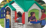 Children Playing in Playhouse