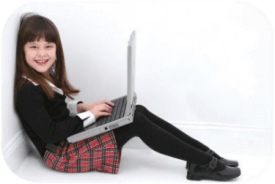 Girl Sitting with a Laptop