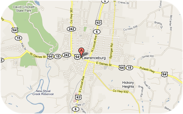 Map of Lawrenceburg and Surrounding Area