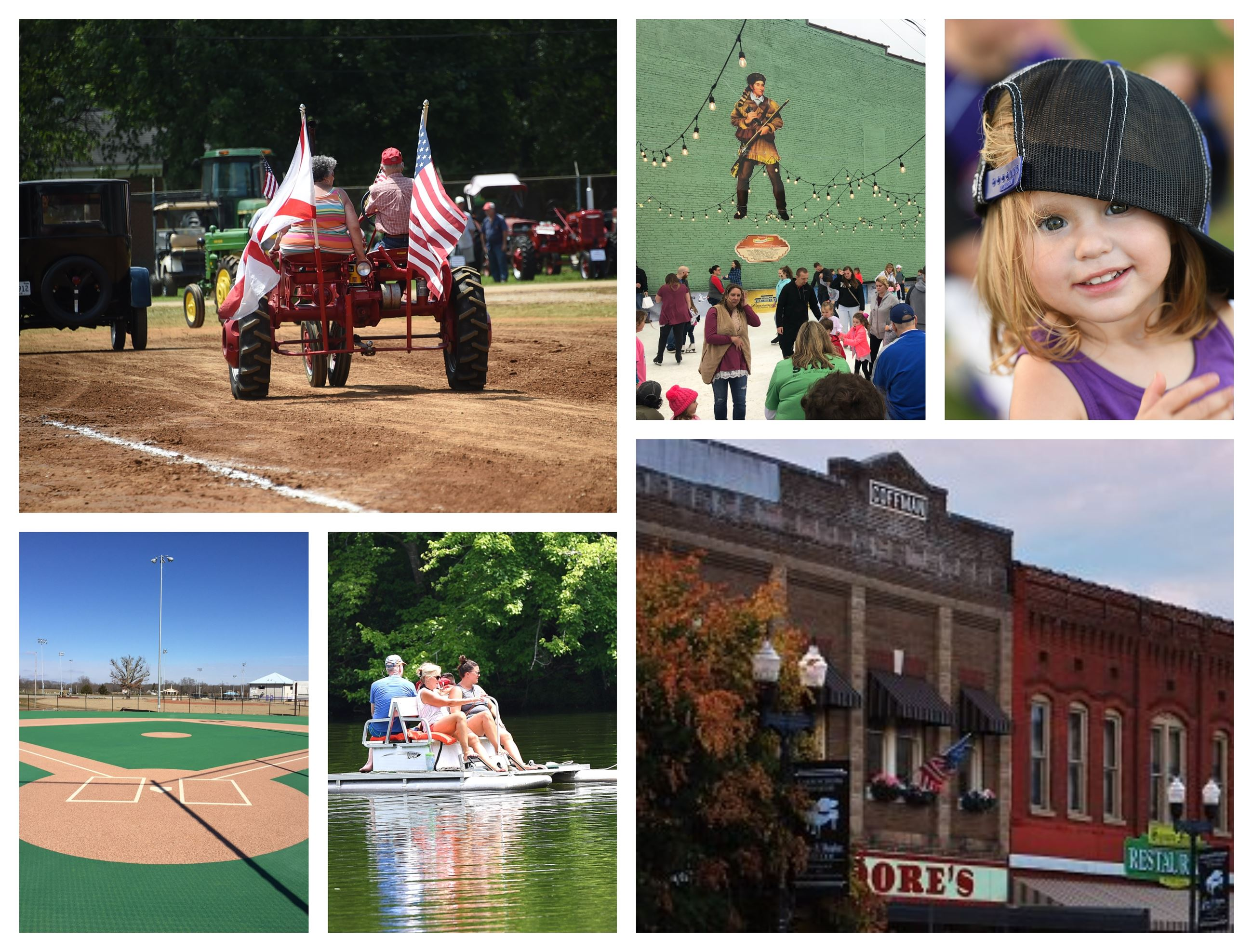 Collage of tractor, rink, girl, lil league field, lake, and store front