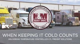 H and M Bay Logo with Semi Trucks