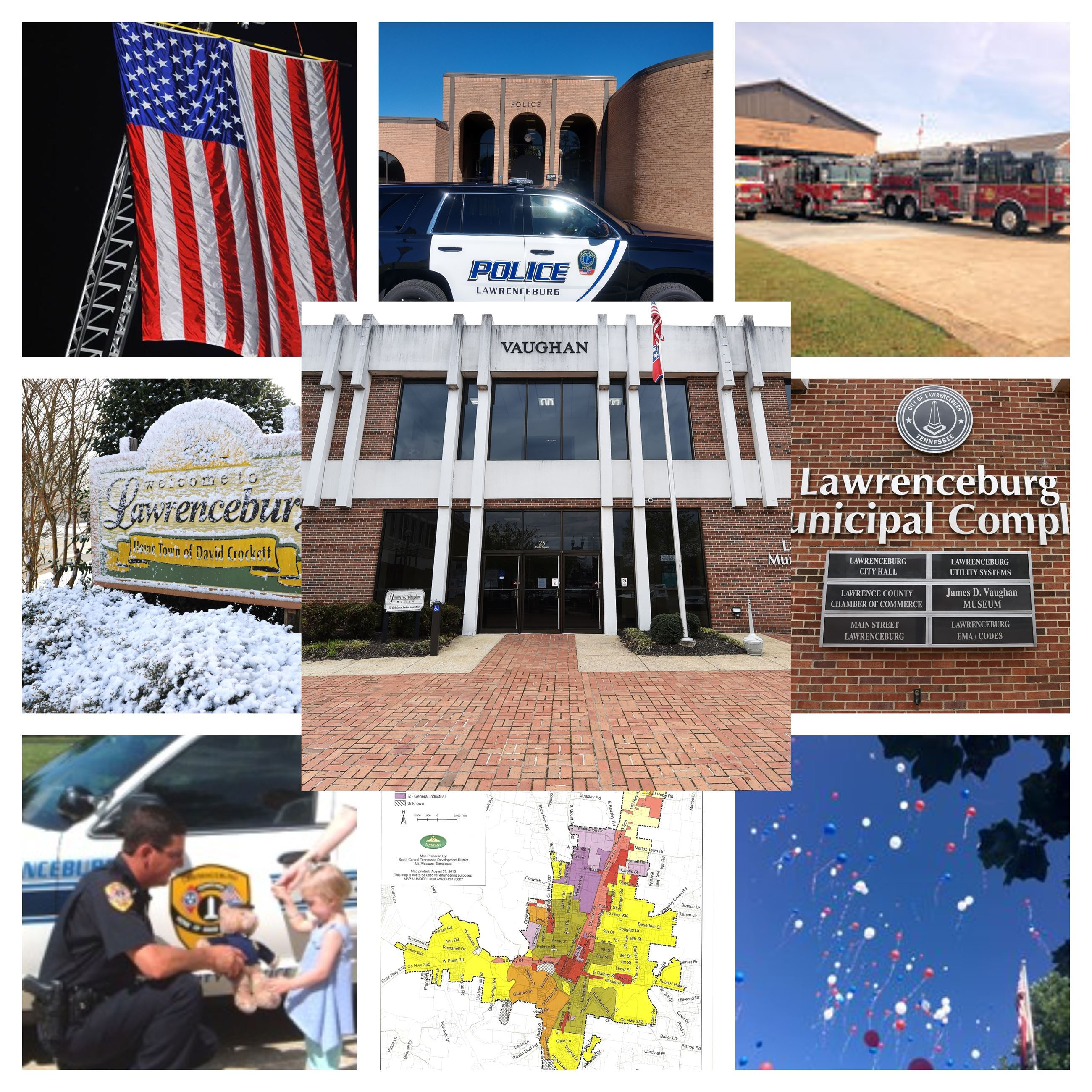 Collage of Police, Lawrenceburg Signs, Fire Department, and Map