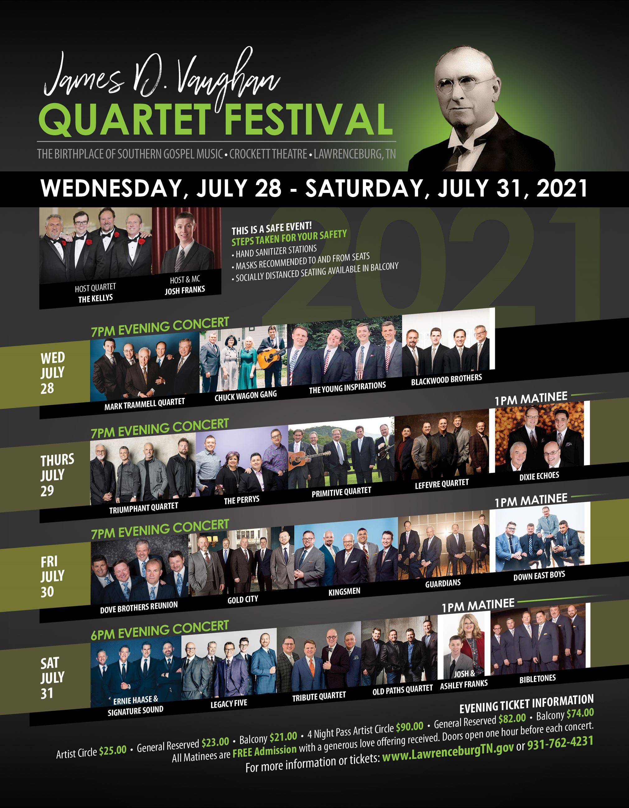 James D Vaughan Quartet Festival Flyer