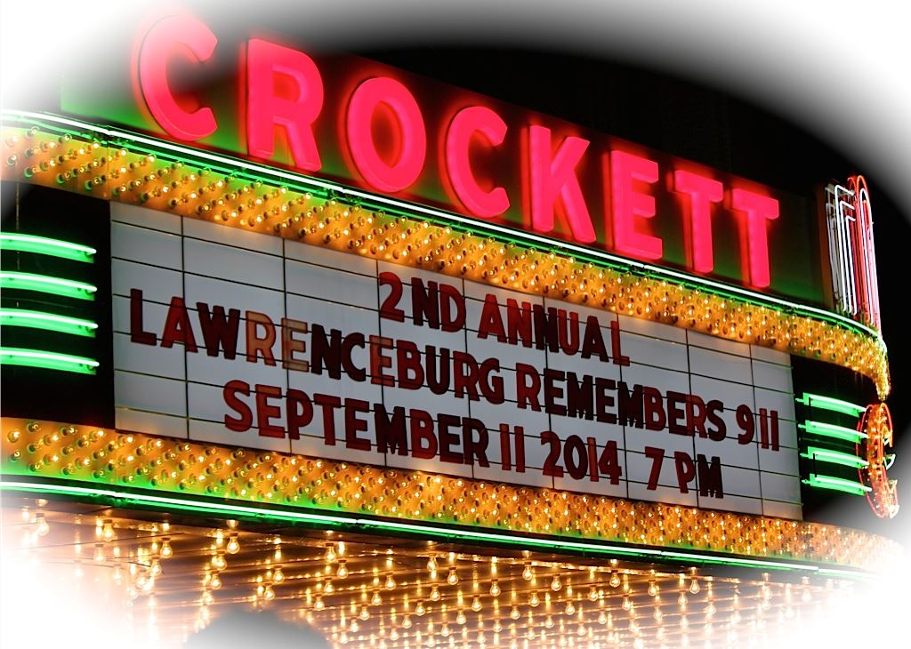 Crockett Theater Sign Reading Second Annual Lawrenceburg Remembering 911