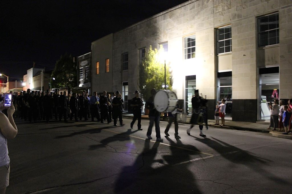 Remembering 911 Parade Marching Band Through Lawrenceburg Streets at Night 2