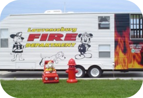 Lawrence Burg Fire Department Trailer Vehicle with Sparky the Dog and a Hydrant in Front